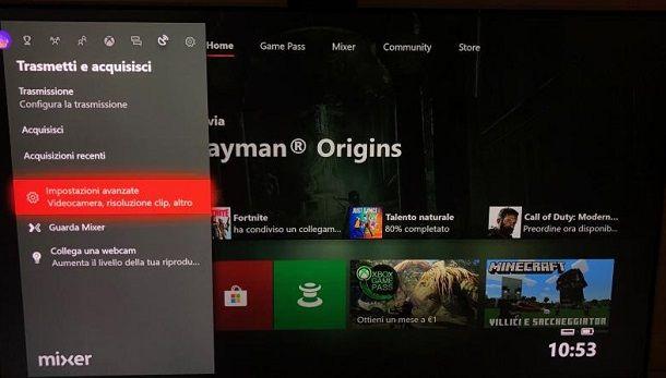 Impostazioni avanzate Xbox