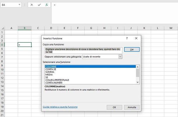 Inserire funzioni Excel