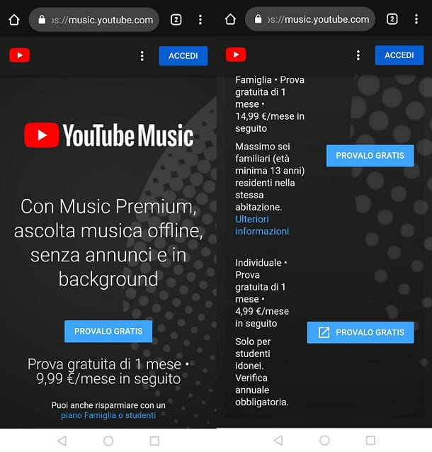 Iscriversi YouTube Music Smartphone