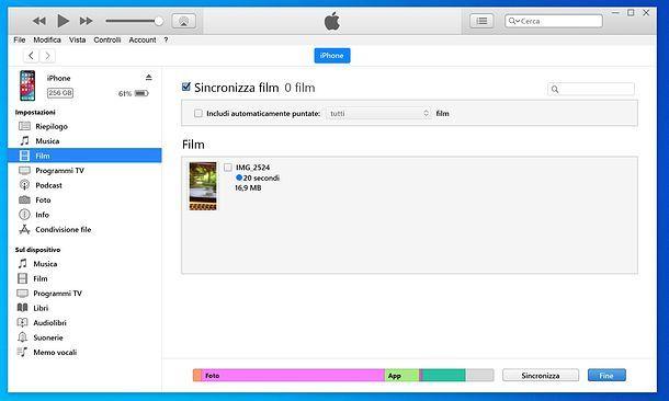 Sincronizzazione film iTunes