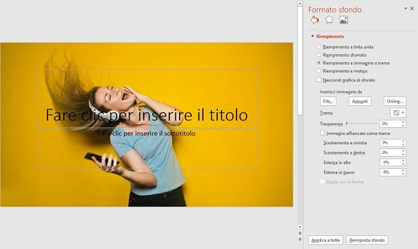 PowerPoint con sfondo con immagine