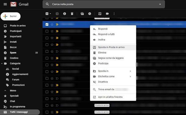 Recuperare email archivio Gmail da PC