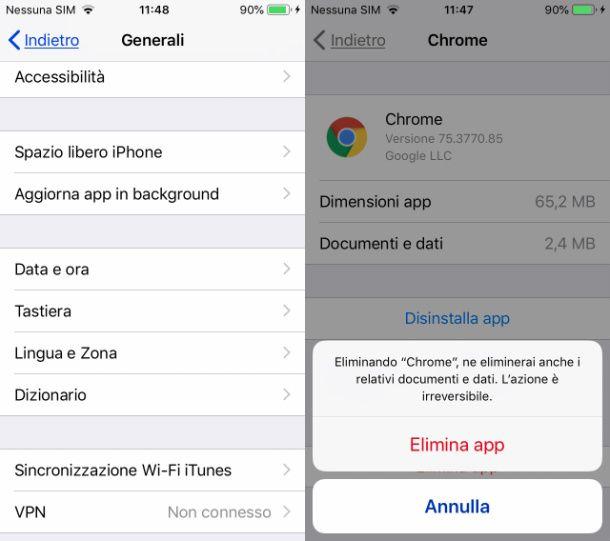 Rimuovere app iOS