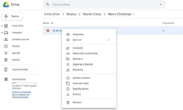 Scaricare musica da Google Drive browser