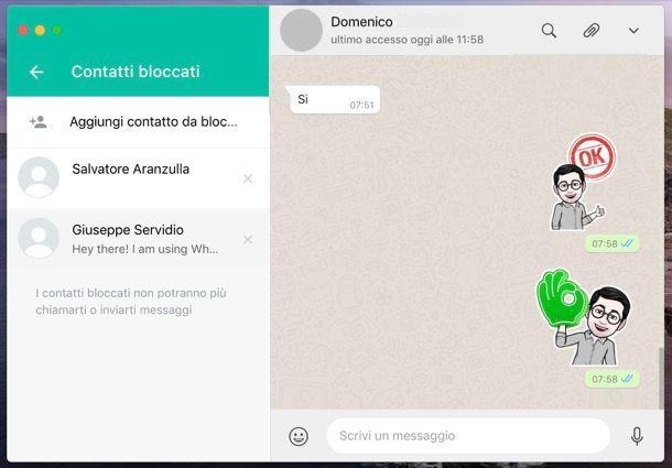 WhatsApp contatti bloccati computer