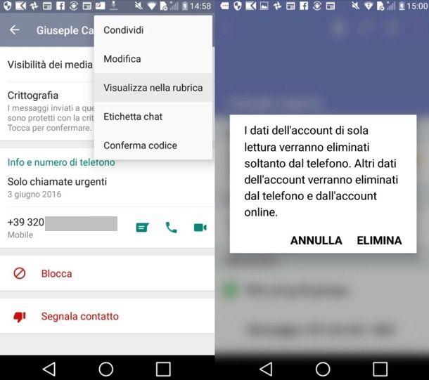 Eliminare contatto WhatsApp