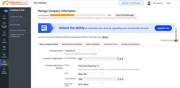 Compiere informazioni azienda Alibaba