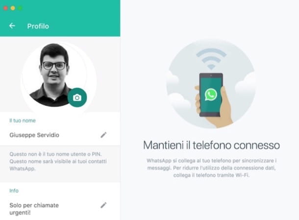 Cambiare frase WhatsApp computer
