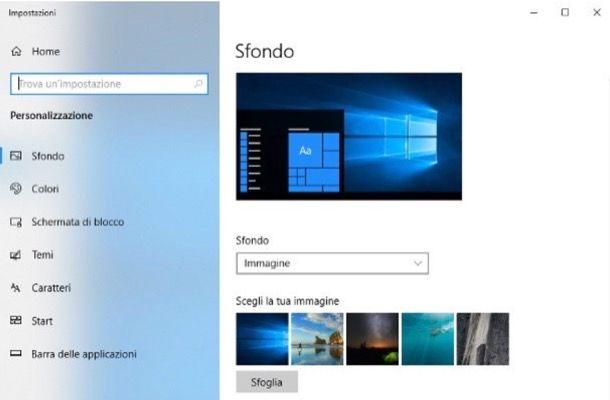 Cambiare sfondo Windows