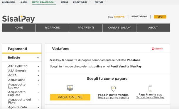 Pagare Vodafone con Sisal