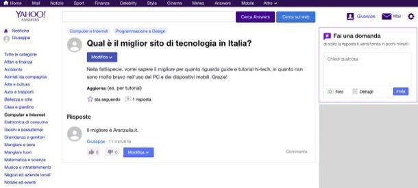 Porre domande su Yahoo