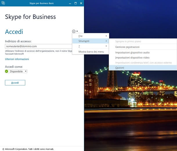 Skype For Business Windows Opzioni