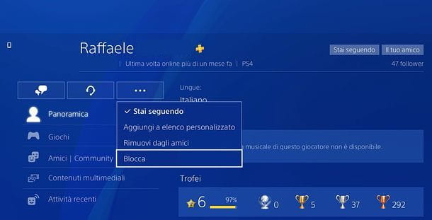 Come bloccare su PS4