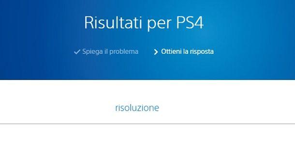Supporto Sony Risoluzione PS4