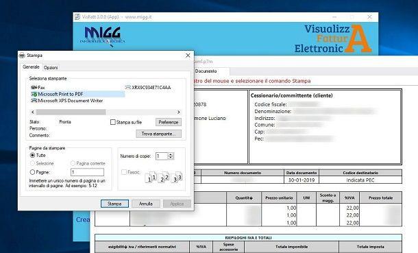 Visualizza fattura elettronica su Windows 10