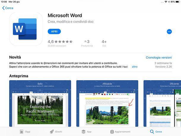 Come aggiornare Word su iOS
