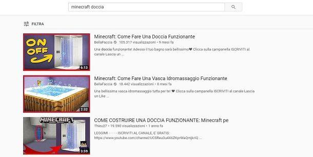 YouTube per cercare progetto doccia su Minecraft