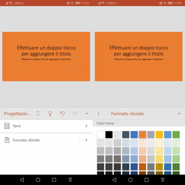 app PowerPoint con sfondo colorato