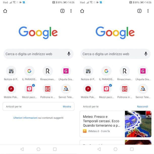 Articoli per te su Android