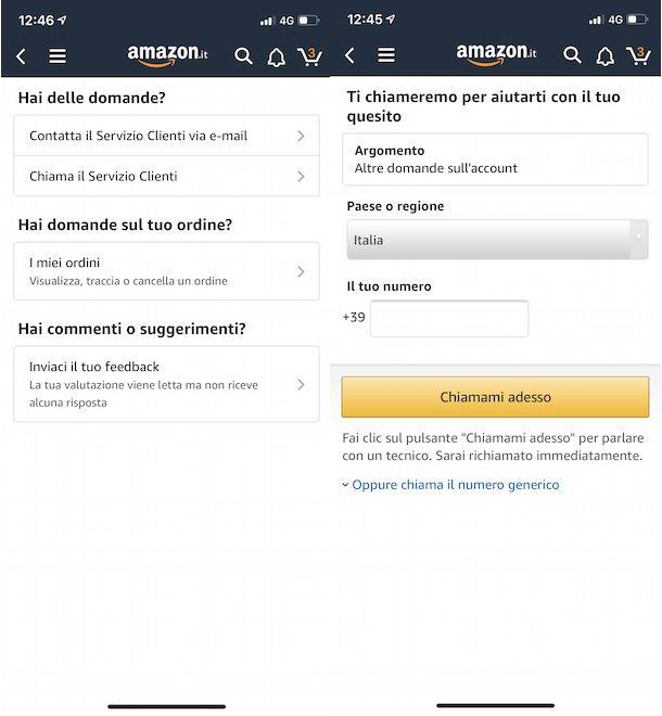 Assistenza Amazon app