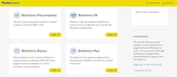 Pagare bollettino online su Poste Italiane