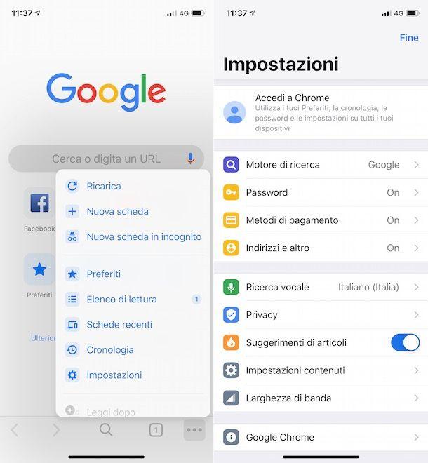 Articoli per te Chrome su iPhone