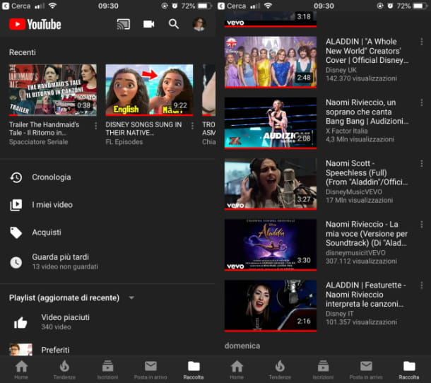 Cronologia youtube app