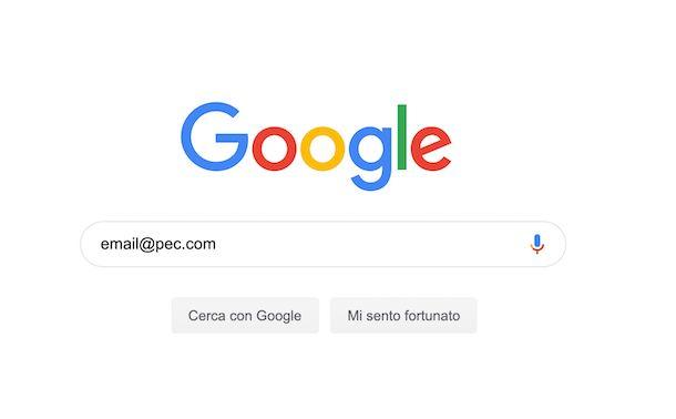 Screenshot che mostra come cercare una PEC su Google