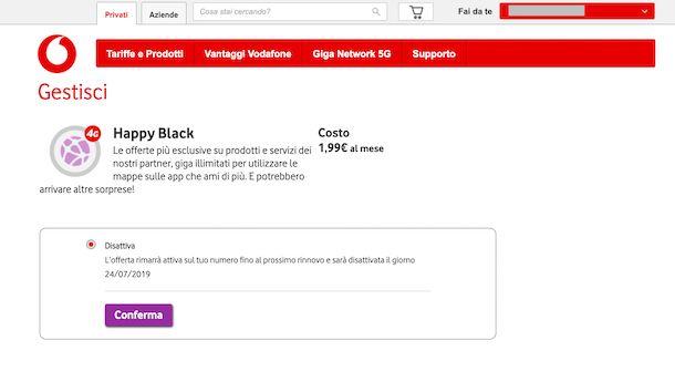 Screenshot che mostra come disattivare Happy Black dal sito Vodafone