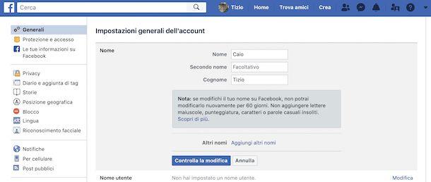 Cambiare nome su Facebook