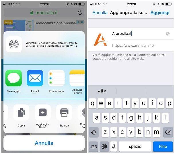 Come si mette l'icona di un sito sul desktop di smartphone e tablet