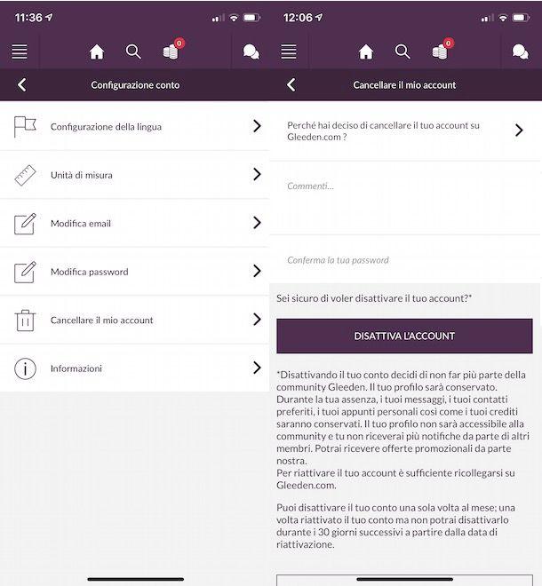 Disattivare Gleeden da app