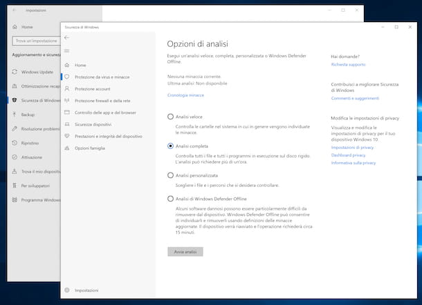 Windows Defender su Windows 10