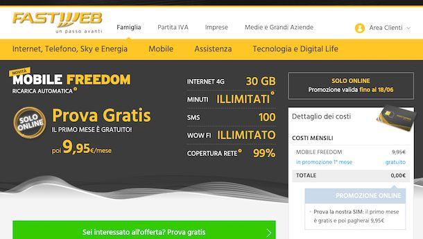 Pagina Web del piano Mobile Freedom di Fastweb
