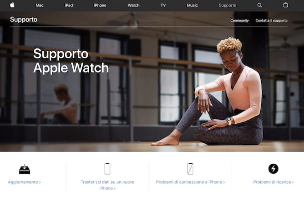 Screenshot della pagina Web del supporto per Apple Watch