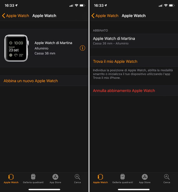 Screenshot che mostra come inizializzare Apple Watch da iPhone