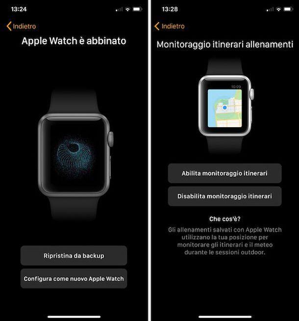 Screenshot che mostra come configurare l'Apple Watch dopo averlo inizializzato