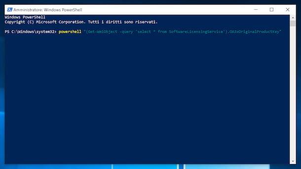 Visualizzare il Product Key di Windows 10 da PowerShell