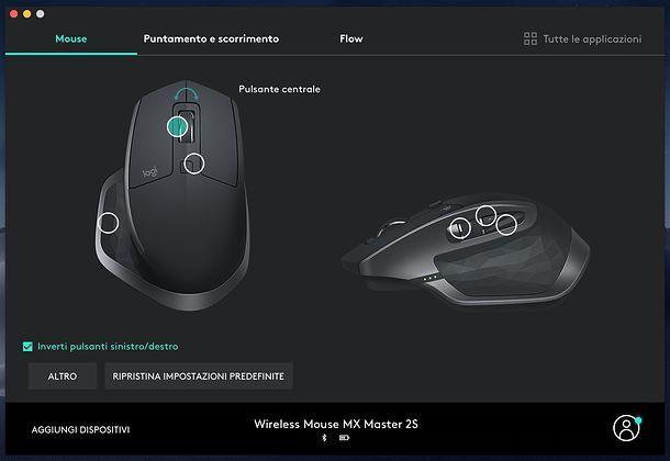 Personalizzazione tasti Logitech MX Master 2S