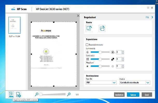 Scannerizzare in PDF più pagine HP