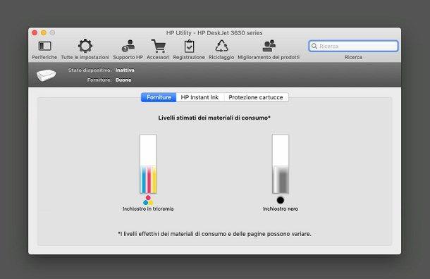 Come vedere livello inchiostro stampante HP da Mac