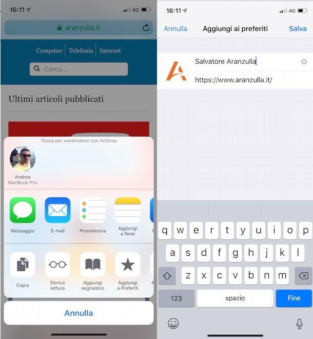 Aggiungere preferiti Safari su iPhone
