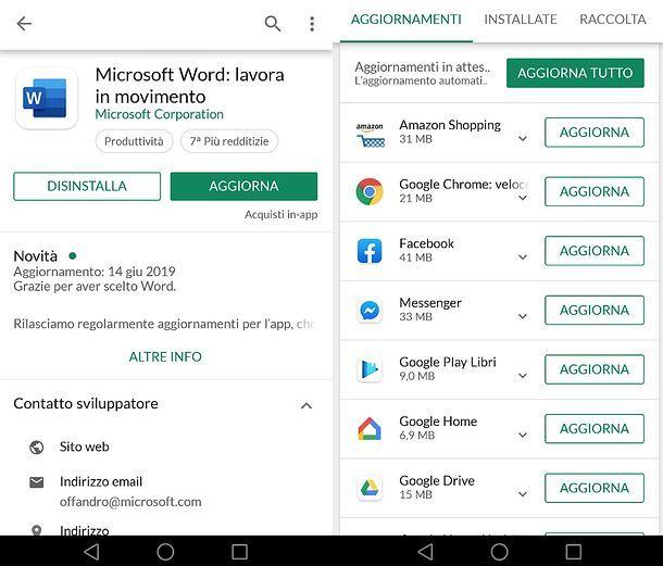 Come aggiornare Word su Android