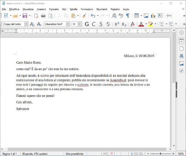 Come scrivere una lettera al computer Windows