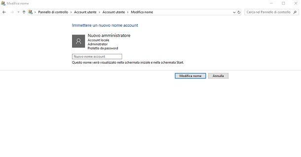 Cambiare nome account locale amministratore Windows 10