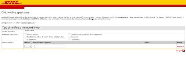 Attivare notifiche pacco DHL