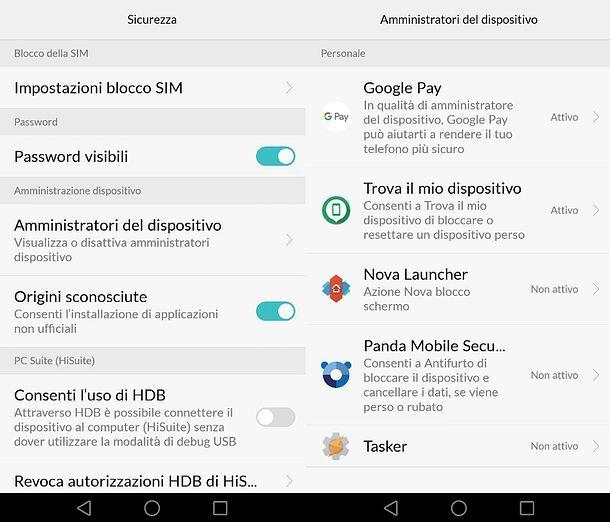Impostazioni app amministratore Huawei