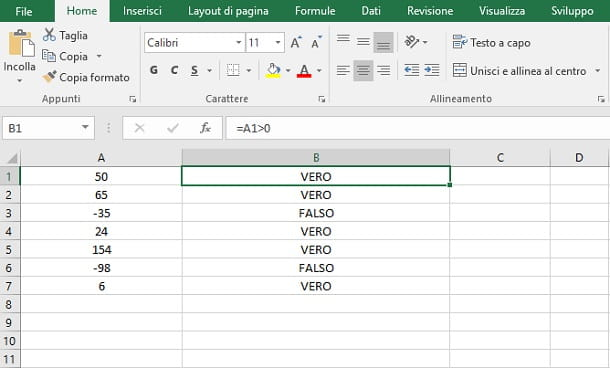 operatori formula Excel