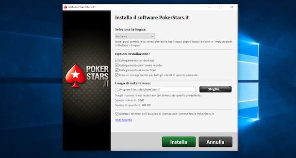 Installazione PokerStars su Windows