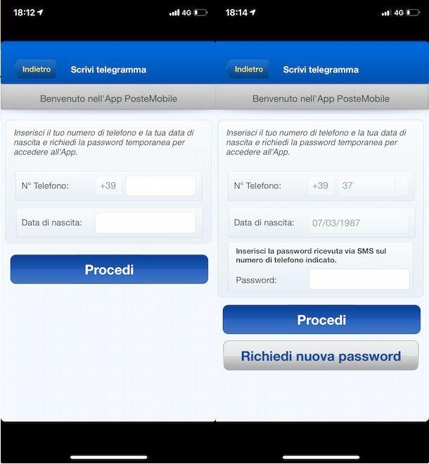 Accesso app PosteMobile